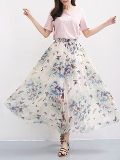 Floral Printed Fancy Maxi Skirts