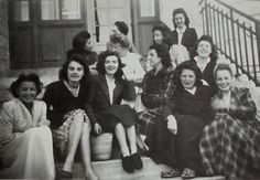 Vintage French Photo - Group of Women Sat Outside on the Steps of a Building by ChicEtChoc on Etsy