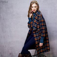 Artka 2015 женская ретро новая коллекция осенней одежды v-образным вырезом с длинными рукавами  клетчатое лоскутное высококачественное элегантное удобное шерстяное пальто FA10757Q
