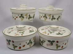 """Wedgwood Wild Strawberry Single Covered Casseroles, 5"""" x 2-3/4"""" tall. So darn cute! $69.50 each, 5 available at vintagetabletop on ebay, 5/14/16"""
