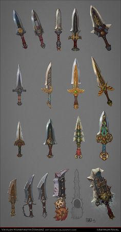 Daggers concepts by Vakon-art equipment gear magic item | Create your own roleplaying game material w/ RPG Bard: www.rpgbard.com | Writing inspiration for Dungeons and Dragons DND D&D Pathfinder PFRPG Warhammer 40k Star Wars Shadowrun Call of Cthulhu Lord of the Rings LoTR + d20 fantasy science fiction scifi horror design | Not Trusty Sword art: click artwork for source