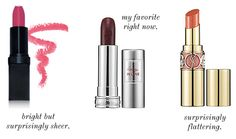 Three to Try: Bold Lipsticks! -Want the middle one Beauty Bar, Beauty Ideas, Kiss Makeup, Hair Makeup, Make Up Tricks, How To Make, Makeup Products, Beauty Products, Beauty Nails