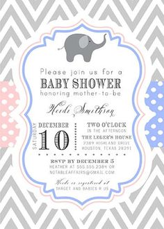 PRINTABLE Blue and Pink Chevron Polka Dots Baby Shower Invitation - Perfect for baby shower, twins shower, gender reveal, gender neutral shower