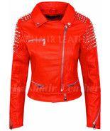 New Women Full Red Silver Studded Punk Hot Club Unique Rock Biker Leathe... - $189.99+