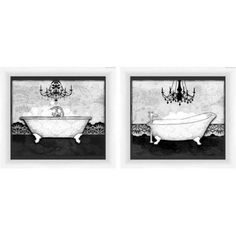 Black and White Bath Art, Set of 2