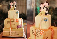 A travel-themed cake by Claycakes. Stacked luggage with cute backpacking bride and groom cake toppers. Wedding Engagement, Our Wedding, Dream Wedding, Wedding Stuff, Vera Wang, Bride And Groom Cake Toppers, Travel Cake, Travel Themes, Themed Cakes
