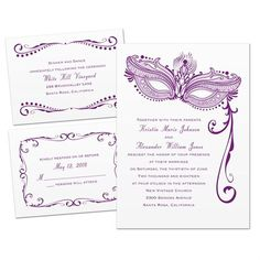 Easily personalized and shipped in a snap! Find stylish and affordable wedding invitations like this masquerade 3 for 1 invite from Invitations by Dawn.