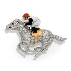 White Gold Horse & Jockey Pin with Diamonds Skeleton Clock, Scully And Scully, Horse Jewelry, Shell Earrings, 18k Gold, White Gold, Horses, Gemstones, Diamonds
