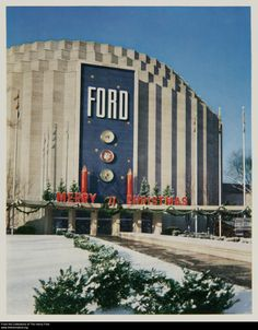 Front entrance of Ford Motor Company's Rotunda, decorated for the annual Christmas Fantasy, Dearborn, Michigan, about 1960. 2012.0.15.8