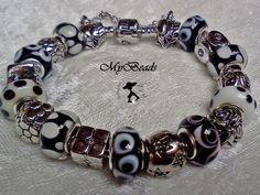 Original Elemento Bead Armband aus rhodiniertem Edelstahl mit Clipverschluss, komplett mit tollen original rhodinierten Elemento Metall Beads teilweis