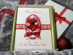Christmas Rose - A trio of red and white roses with gold wire spirals and swirls. £13.45  BY Looney Lizard Creations