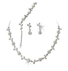 Silver-Tone Clear Floral Vine Wedding Necklace Earrings Bracelet Jewelry Set Melissa Kay Collection http://www.amazon.com/dp/B009WBKMWY/ref=cm_sw_r_pi_dp_Zdyivb171QDN2