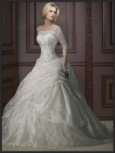 never getting married BUT.............. part 3. not crazy about the barbie ballgown shimmer going on but the neckline and 3/4 sleeves = love