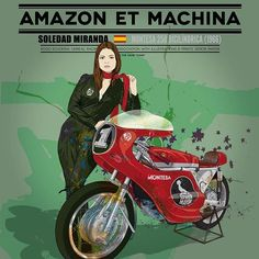 Ornella y su Benelli 750 Sei - Señor Mayor Motorcycle Posters, Motorcycle Art, Bike Art, Girl Riding Motorcycle, Motorbike Girl, Cafe Racer Seat, Cafe Racer Girl, Moto Cafe, Brat Cafe