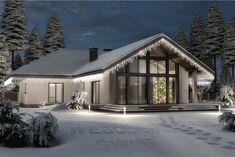 Projekt domu Lemko Termo 187,63 m2 - koszt budowy - EXTRADOM Minimalist House Design, Small House Design, Cottage Design, Dream Home Design, Modern House Design, Modern Bungalow Exterior, Dream House Exterior, Village House Design, Village Houses