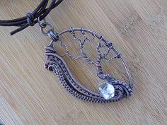 Tree of Life Pendant Swirling Wire Weave Diamond Quartz Oxidized Copper Wire…