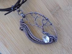 Tree of Life Pendant Swirling Wire Weave Diamond Quartz Oxidized Copper Wire Wrapped Jewelry Handmade Renaissance Fantasy Medallion Amulet