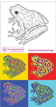 Color Theory Andy Warhol style - Create your own new species, free template Rainforest Theme, Rainforest Frog, Rainforest Animals, Pop Art, Diy Spring, Frog Crafts, Free Printable Art, Free Printables, Arte Popular