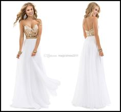 Cheap Crystal - Discount Amazing 2014 Crystal Gold Sequins White Chiffon Long Prom Gown a Line Sweetheart Pleated Beading Floor Length Evening Dress Formal Gown Online with $122.83/Piece | DHgate