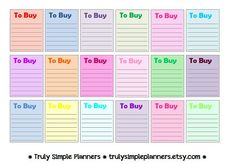 Printable TO BUY List Squares for erin condren life planner, filofax, plum paper, limelife. instant download printable stickers.