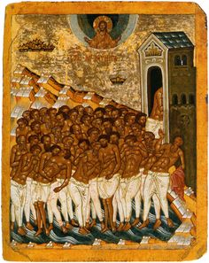 Forty Martyrs of Sebaste Icon- Icon II Religious Images, Religious Icons, Religious Art, Byzantine Icons, Byzantine Art, Fresco, Russian Icons, Religious Paintings, Orthodox Icons