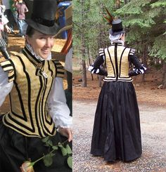 Elizabethan Noble Travel Costume-'Later Elizabethan ladies' doublet ensemble, with separate silk sleeves, a matching tall hat, and black silk skirt. The bodice is made of gold jacquard, with black velvet.'