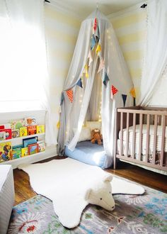kids room with woodland patterns