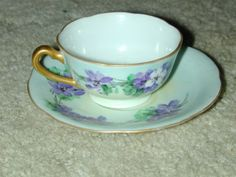 VINTAGE HANDPAINTED SMALL TEACUP AND SAUCER OCCUPIED JAPAN
