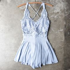 first lace winner microfiber romper - blue - shophearts - 1