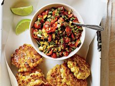 Corn Fritters with Spicy Zucchini Salsa Recipe  at Epicurious.com