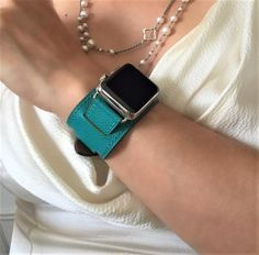 Sea Green Apple Watch Leather Cuff by Juxli Home. Handmade, stylish leather strap with rose gold hardware on a Apple watch. Apple Watch Series 2, Apple Watch Bands, Apple Watch Fashion, Apple Watch Leather, Apple Watch Iphone, Iphone Stand, Leather Cuffs, Leather Material, Gold Hardware