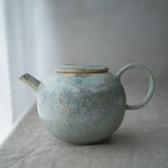 Blue mottled glaze pot