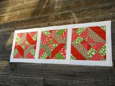 Seasonal Table Runner Holiday Runner Quilted Patchwork Christmas Long Table Mat Reversible Quilted Table Mat Made in USA Red Green White by KandKKrafts on Etsy
