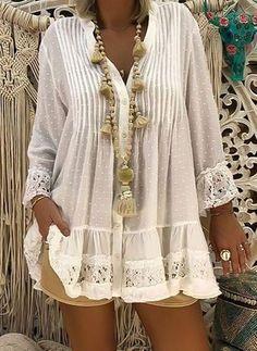 Compre Plus Size Blusas, Venda, Loja Online de Plus Size Blusas de Moda Feminina - Floryday Plus Size Casual, Shirt Blouses, Lace Blouses, Lace Shirts, Cheap Blouses, Collar Shirts, Plus Size Blouses, V Neck Dress, Shirt Dress