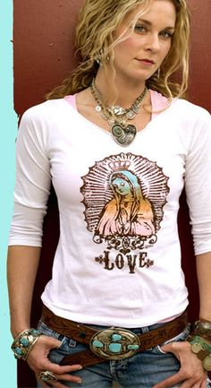 "Just found this on The Junk Gypsy Co. site.  I ""love"" it!  #ourladyofguadelupe  #tee #t-shirt"