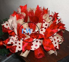 deco mesh centerpiece red and burlap made by LW