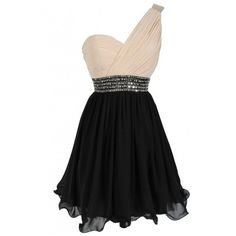 One Shoulder Embellished Chiffon Designer Dress in Cream/Black Lily... ($85) ❤ liked on Polyvore featuring dresses, vestidos, vintage beaded dress, sequin dresses, beaded cocktail dress, asymmetrical dress and cream cocktail dress
