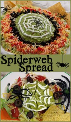 We made the classic 7-layer Tex-Mex dip a little spookier, so you can serve it at your Halloween party!