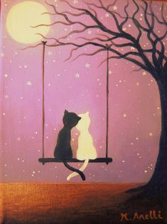 Cats on a swing. A lovely hand painted cat painting made with care and detail on a 100% cotton canvas! This charming artwork is an original and unique piece (NOT A PRINT), created with fine quality acrylic paints, mostly in purple, black, brown, white and gold. A lovely example of cat art, perfect as wall decor for girls' bedrooms. This cat painting makes a great present and a last minute gift idea for little girls and teenagers.