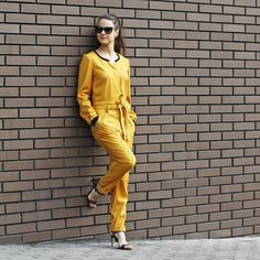 Items similar to Womens yellow Formal Jumpsuit Evening jumpsuit Casual suit Jumpsuit gelb Business suit Trousers Pants One-piece suit Elegant clothes Costume on Etsy Formal Jumpsuit, Casual Jumpsuit, Trouser Suits, Trousers, Street Style Blog, Overalls Women, Casual Suit, One Piece Suit, Elegant Outfit