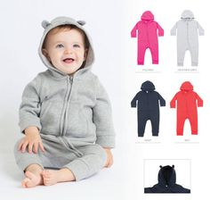 Fleece all in one Long line zip for ease of access. Hood with ears detail. All In One, Kangaroo, Heather Grey, Ears, Stitching, Detail, Pocket, Flat, Zip