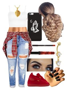 """""""Leo season ♌️"""" by foreverkaylah ❤ liked on Polyvore featuring Anastasia Beverly Hills, Clayton, Puma, R13, WearAll, King Ice and Bling Jewelry"""