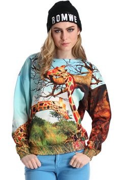 ROMWE | ROMWE Colored Giraffe Print Long-sleeved Sweatshirt, The Latest Street Fashion