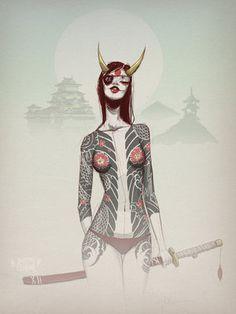 The Blind Ninja - dummy-kanji: (vía Yokai fine art print Art Sketches, Art Drawings, Japanese Tattoo Art, Art Japonais, Ouvrages D'art, Desenho Tattoo, Samurai Art, Japan Art, Character Art