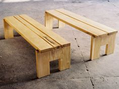 Wood benches- by Detroit Tree of Heaven Woodshop