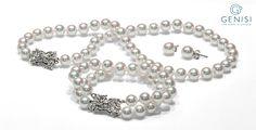 collana, bracciale e orecchini perle Akoya in parure