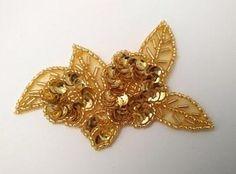 Gold applique – Aleemahs Applique and Trim Sequin Appliques, Lace Applique, Burlesque, Embellishments, Patches, Sequins, Brooch, Dance, Beads