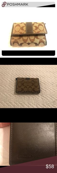 Coach Signature Wallet brown/tan medium Ladies who are savvy about fashion designers can instantly spot a Coach Signature wallet from a mile away. It's hard to miss an accessory that has the brand's logo all over it in their iconic pattern. This wallet is brown and tan.  Used in good condition.  A lot of life left in it.  Don't miss out! Coach Bags Wallets
