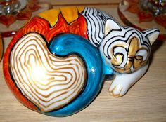 Hand Painted Ceramic Cat Painted Fleur de lis by skyspirit8studios, $36.00