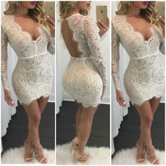 White lace plunge backless short party cocktail sexy dress